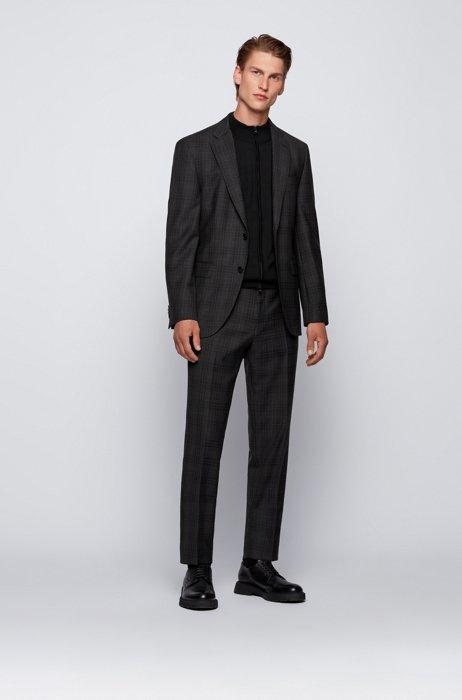 Regular-fit suit in checked virgin wool, Dark Grey