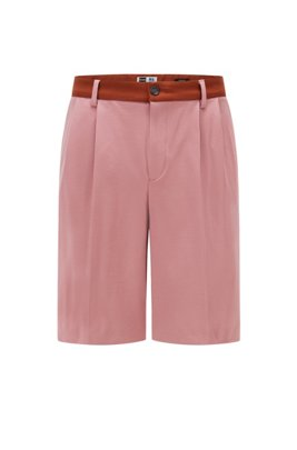 Tapered-fit shorts in Italian jersey with exclusive logo, light pink
