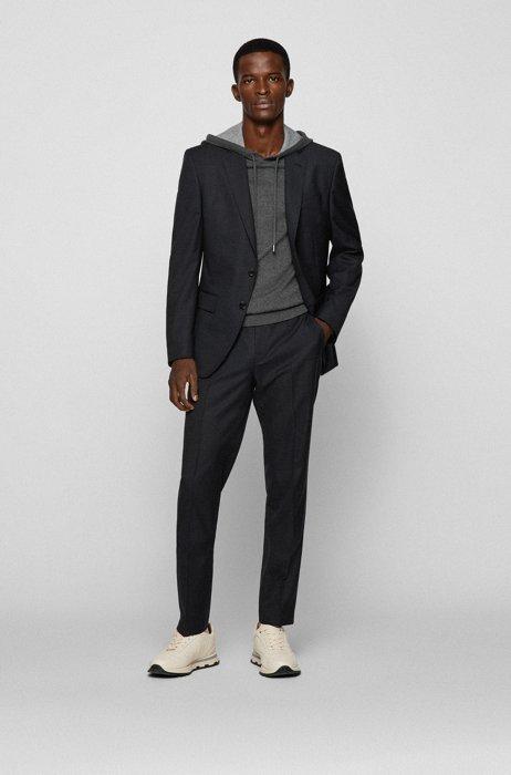 Patterned slim-fit suit in responsible virgin wool, Black