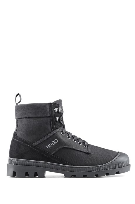 Lace-up boots in suede and cotton canvas, Black