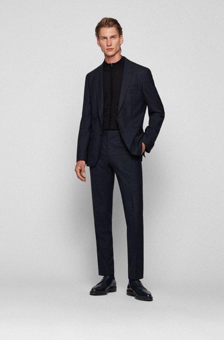 Performance slim-fit suit in stretch wool, Dark Blue