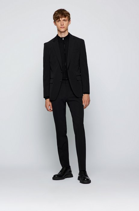 Slim-fit suit in performance-stretch cloth, Black