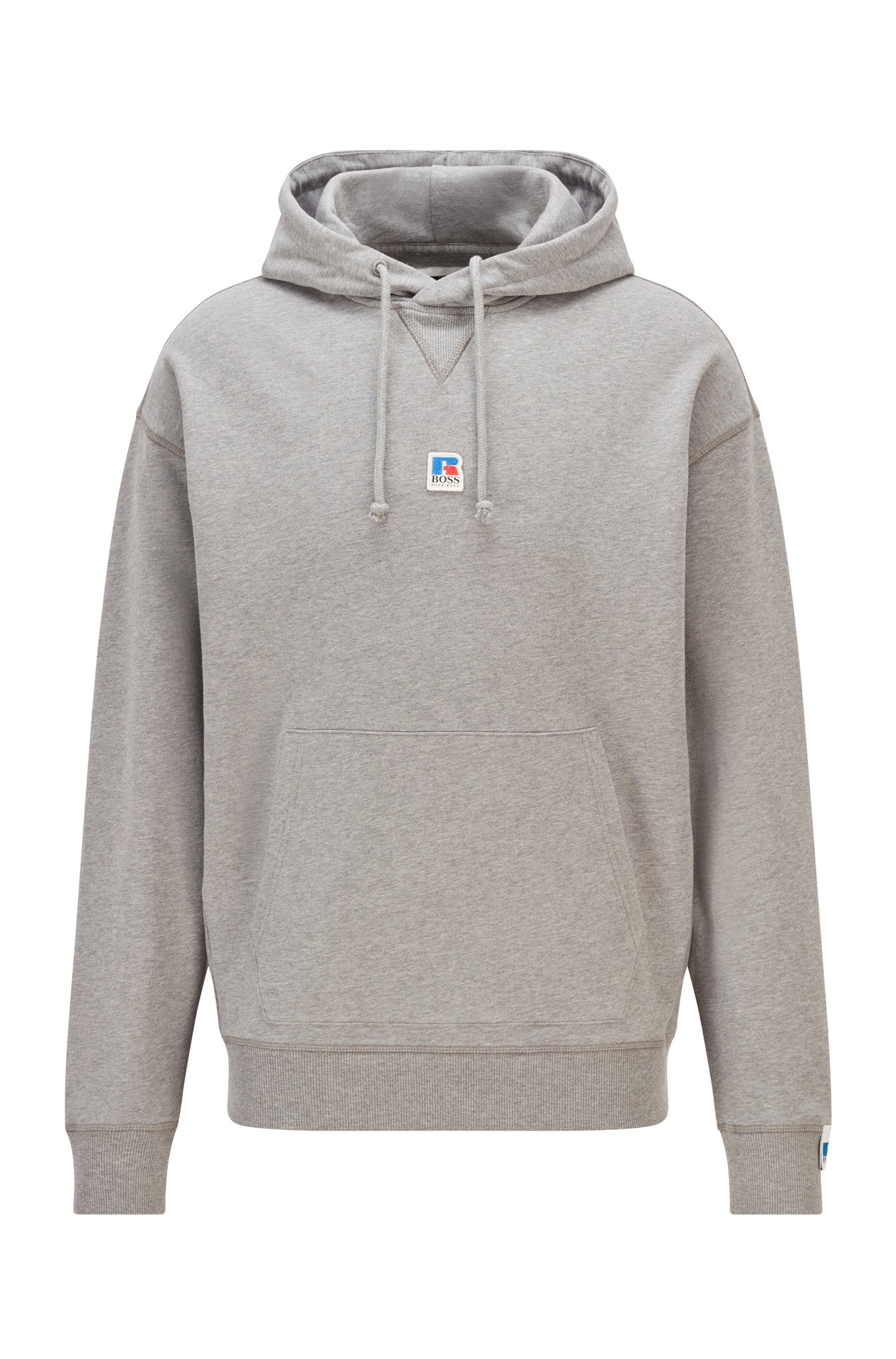 Relaxed-fit unisex hoodie in organic cotton with exclusive logo, Grey