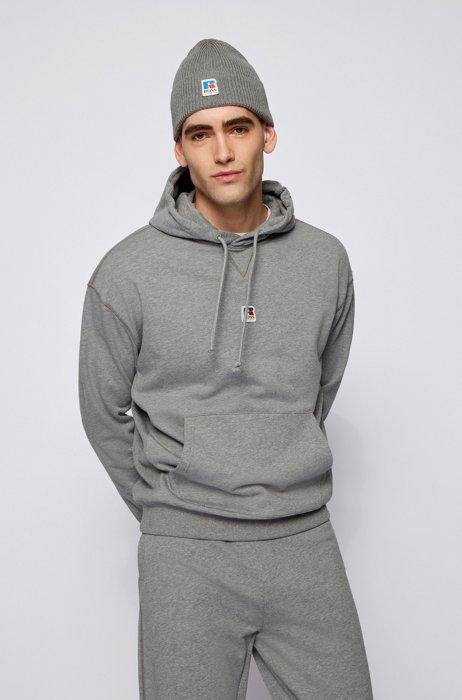Sweat à capuche mixte Relaxed Fit en coton biologique avec logo exclusif, Gris