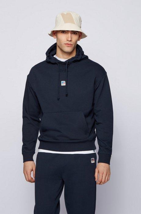 Sweat à capuche mixte Relaxed Fit en coton biologique avec logo exclusif, Bleu foncé