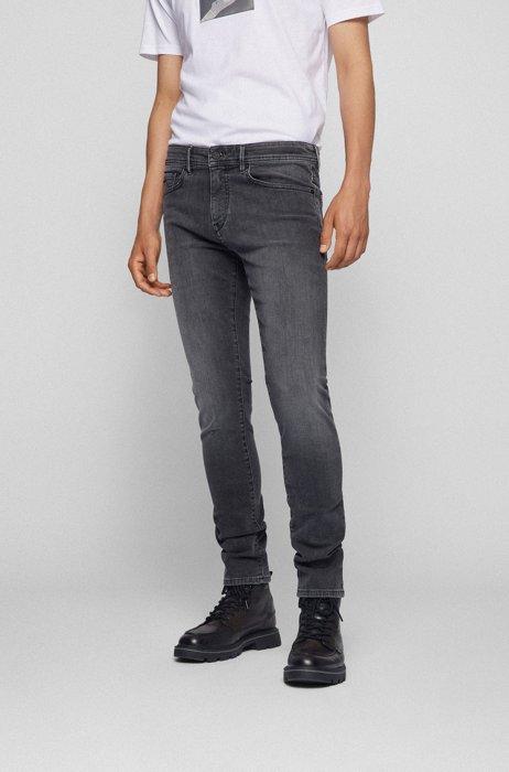 Skinny-fit jeans in black super-stretch denim, Silver