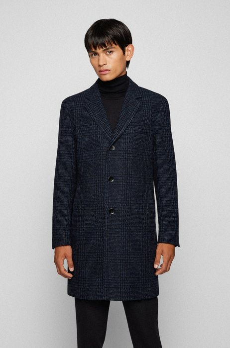 Slim-fit formal coat in checked fabric, Dark Blue