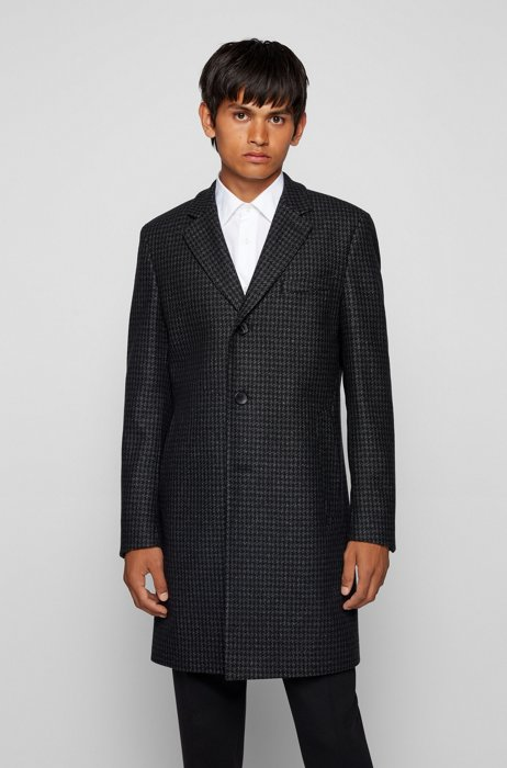 Slim-fit coat in a recycled-wool blend, Silver