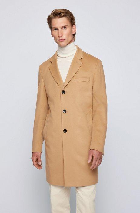 Slim-fit coat in virgin wool with cashmere, Beige