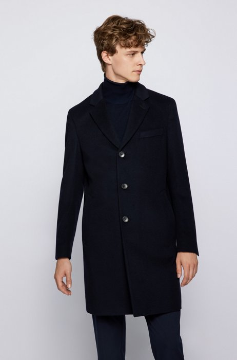 Slim-fit coat in virgin wool with cashmere, Dark Blue