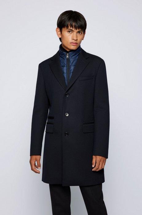 Slim-fit coat with zip-up inner, Dark Blue