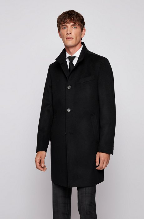 Slim-fit formal coat in wool and cashmere, Black