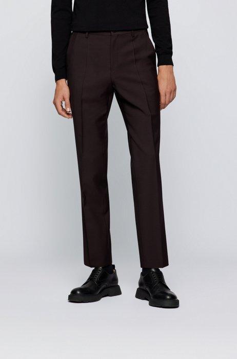 Regular-fit pants in melange virgin wool, Dark Brown