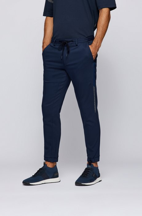 Cotton-blend tracksuit bottoms with logo and pixel print, Dark Blue