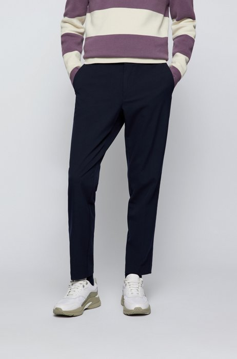 Crease-resistant trousers in stretch twill with secure pocket, Dark Blue