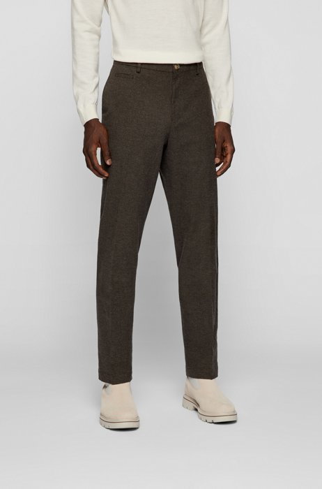 Regular-fit trousers in melange stretch cotton, Beige