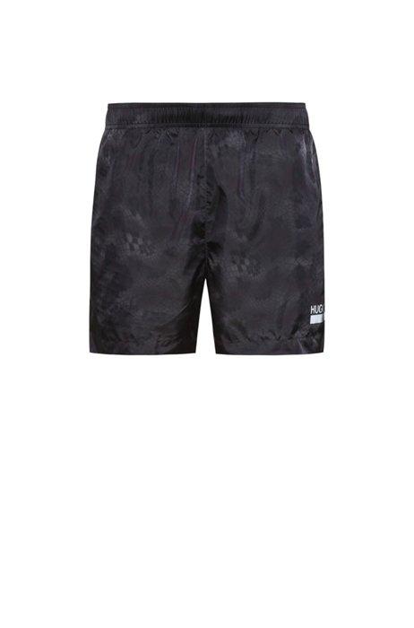 Quick-dry snake-print swim shorts with manifesto logo, Black