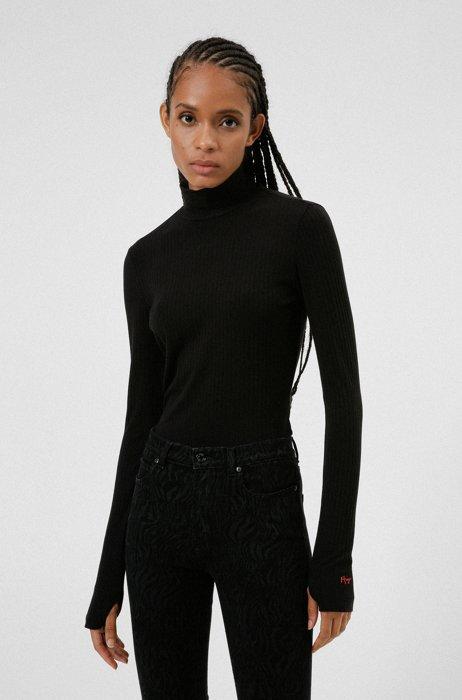 Long-sleeved mock-neck T-shirt with handwritten logo, Black