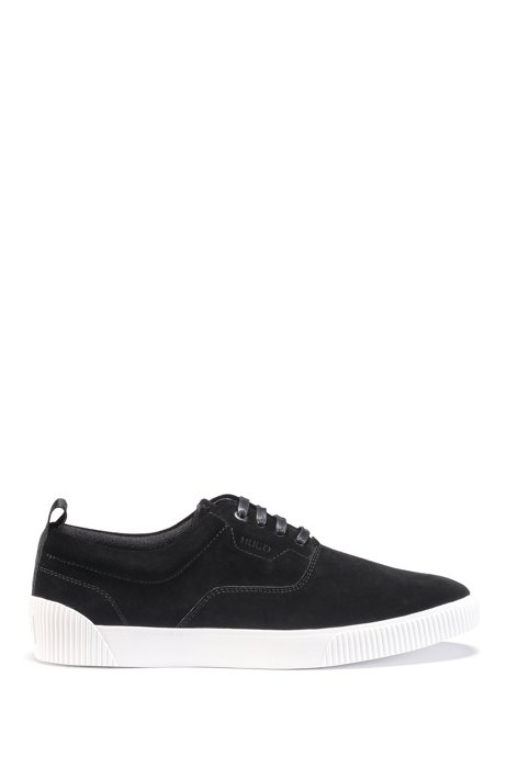 Suede trainers with branded tape, Black