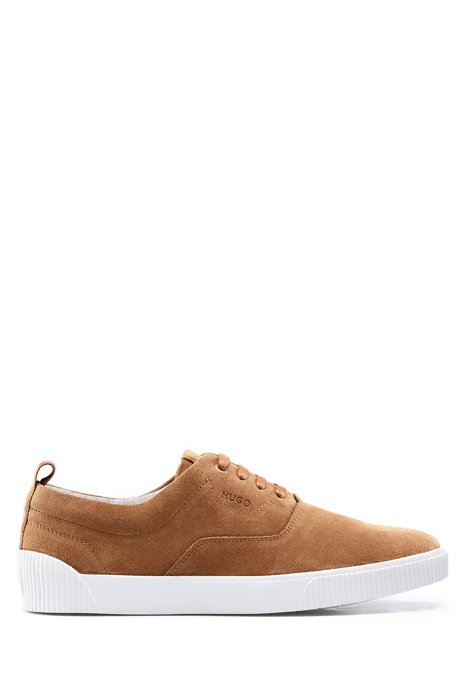 Suede trainers with branded tape, Brown