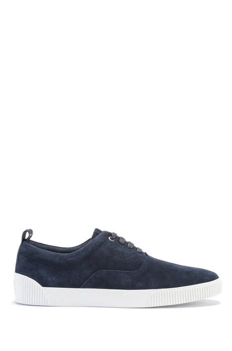 Suede trainers with branded tape, Dark Blue