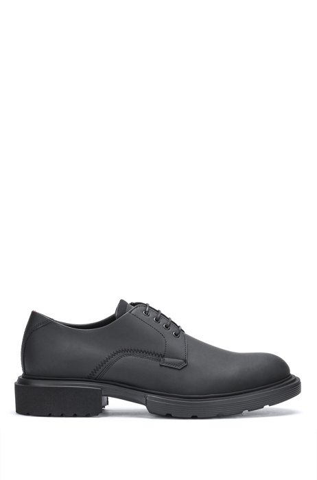Rubberised Derby shoes with neoprene details, Black