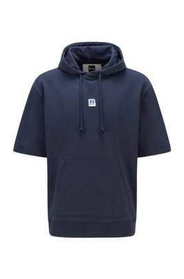 Short-sleeved hoodie in organic cotton with exclusive logo, Dark Blue