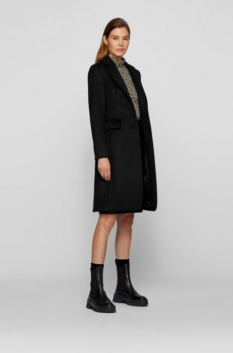Regular-fit coat in virgin wool and cashmere, Black