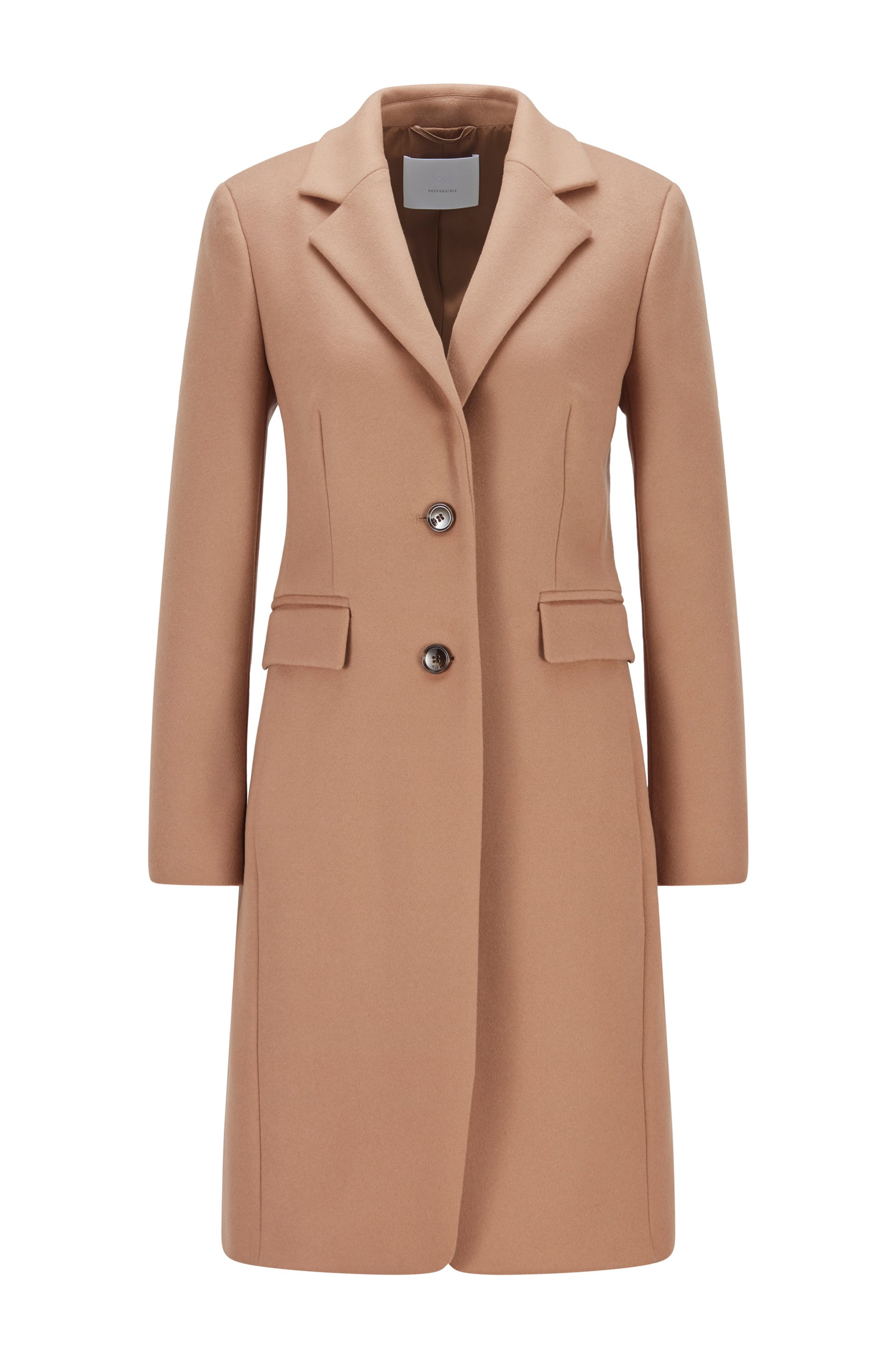 Regular-fit coat in virgin wool and cashmere, Light Brown