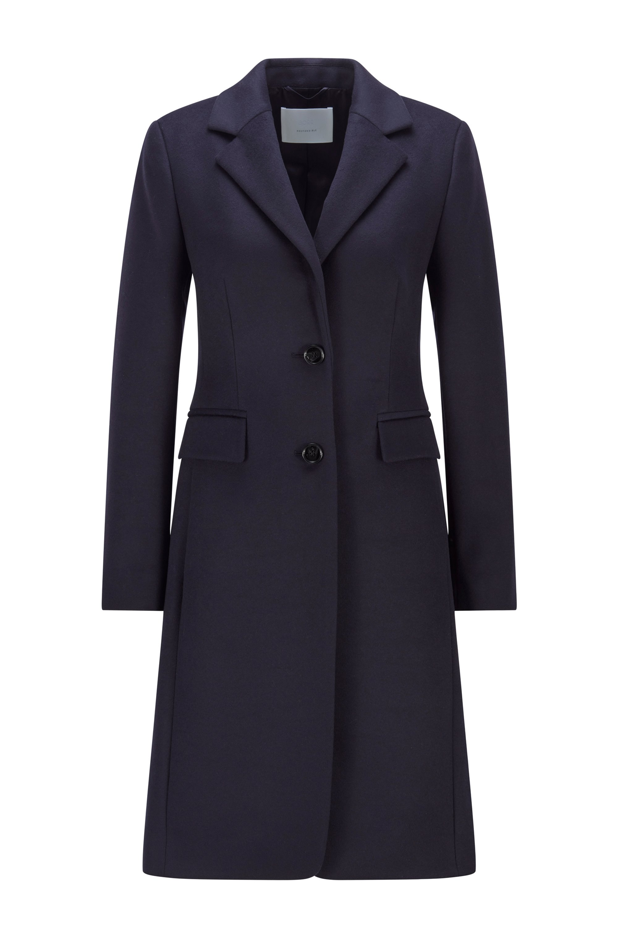 Regular-fit coat in virgin wool and cashmere, Light Blue