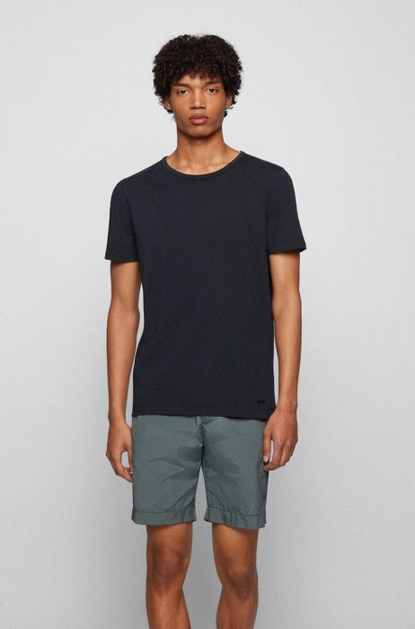 Organic-cotton T-shirt with garment-dyed finish, Black