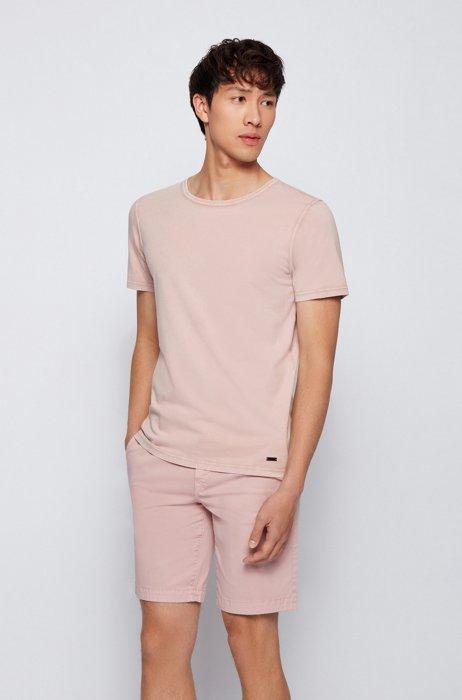 Organic-cotton T-shirt with garment-dyed finish, light pink