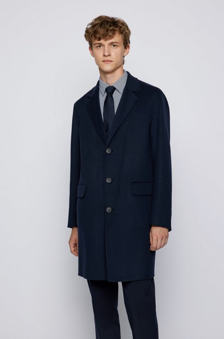 Relaxed-fit coat in a double-faced wool blend, Dark Blue