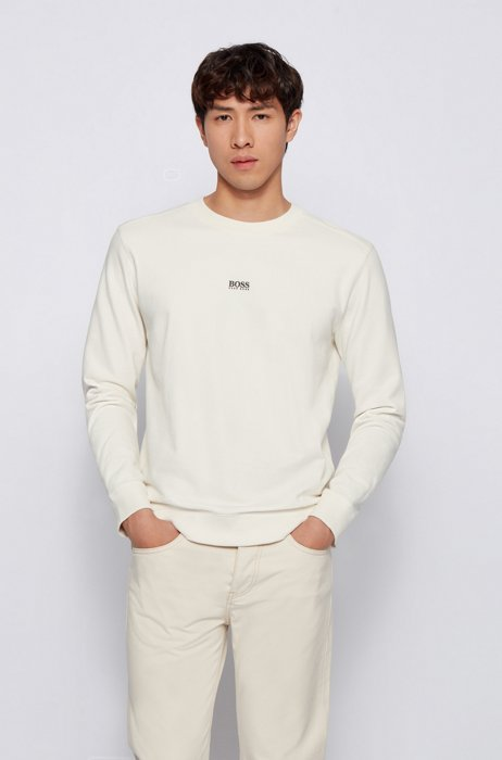 Relaxed-fit logo sweatshirt in an organic-cotton blend, White