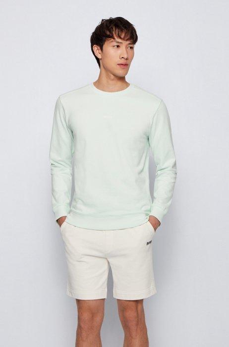 Relaxed-fit logo sweatshirt in an organic-cotton blend, Light Green