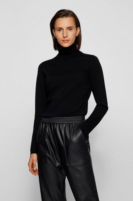 Slim-fit rollneck sweater in superfine merino wool, Black