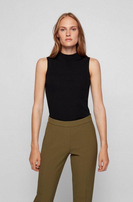 Sleeveless slim-fit top with mock neckline, Black
