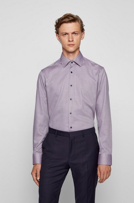 Regular-fit shirt in easy-iron structured cotton, Purple