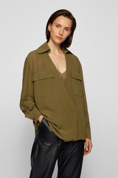Relaxed-fit blouse in washed silk with camisole, Dark Green