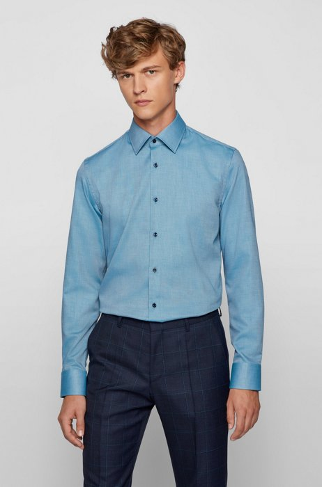 Slim-fit shirt in two-tone easy-iron cotton, Green
