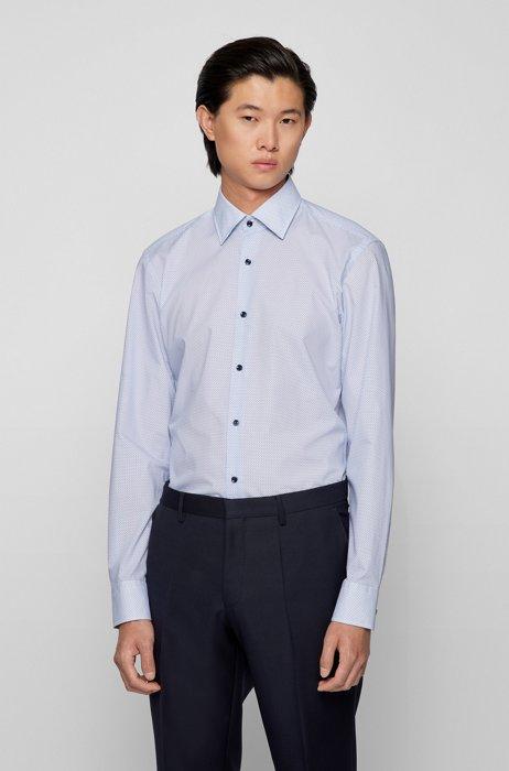 Slim-fit shirt in printed cotton poplin, Light Blue