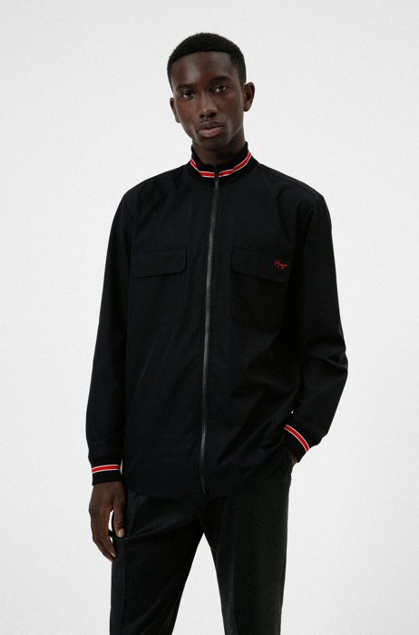 Oversized-fit zip-up shirt in cotton with handwritten logo, Black