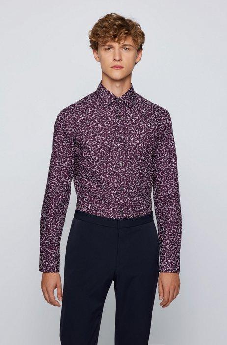 Slim-fit shirt in printed cotton poplin, Purple