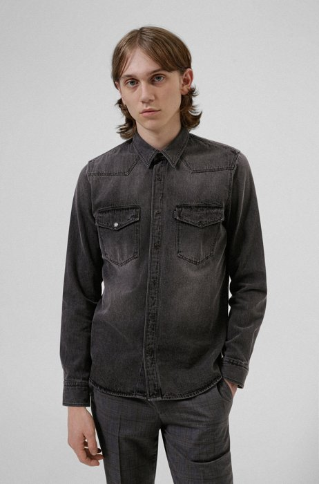 Relaxed-fit shirt in bleached denim, Black