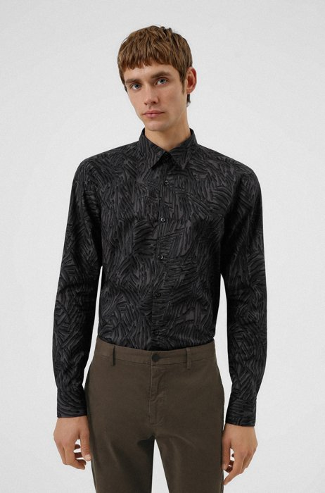 Slim-fit shirt in abstract-print cotton, Grey
