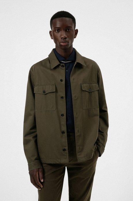 Oversized-fit shirt in cotton twill with manifesto logo, Dark Green