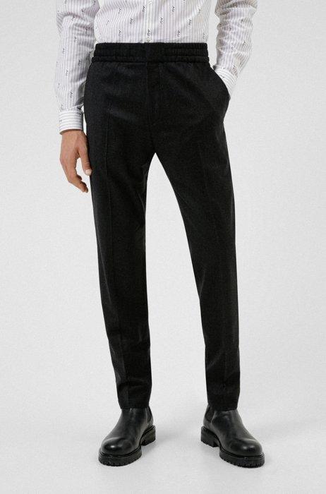 Extra-slim-fit pants in melange stretch wool, Dark Grey