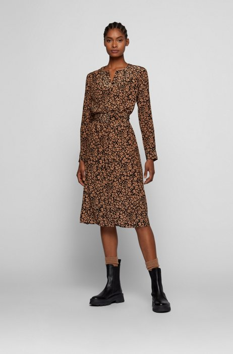 Belted silk dress with digital print, Patterned