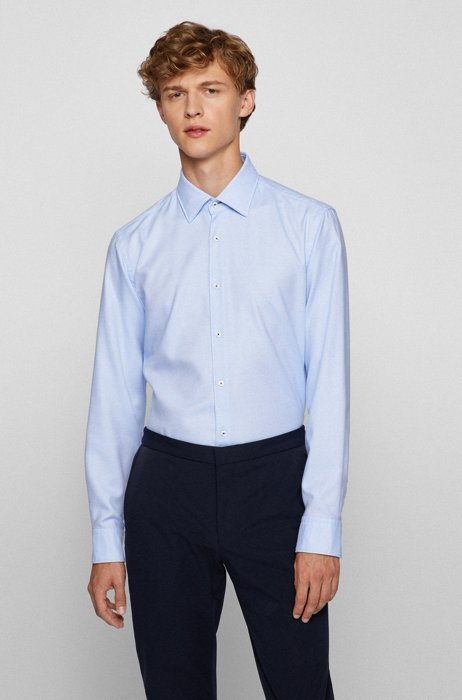 Regular-fit shirt in easy-iron structured cotton, Light Blue