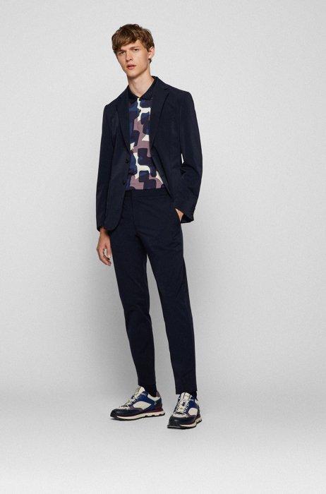 Slim-fit suit in performance-stretch cloth, Dark Blue